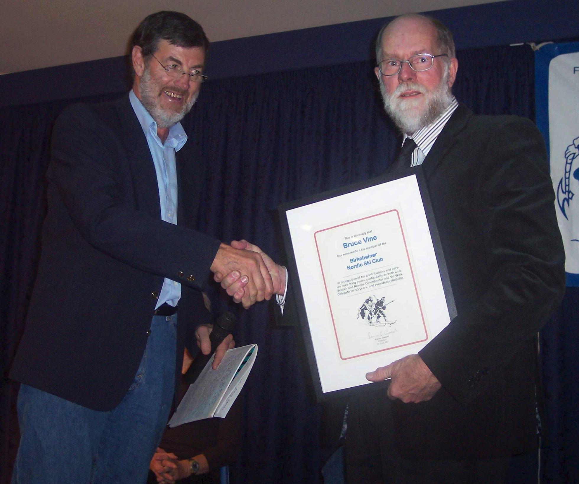 Phil Evans & Bruce Vine-Life Members