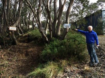 Doug Hamilton pointing the way to the new Clubhouse access track from Windy Corner